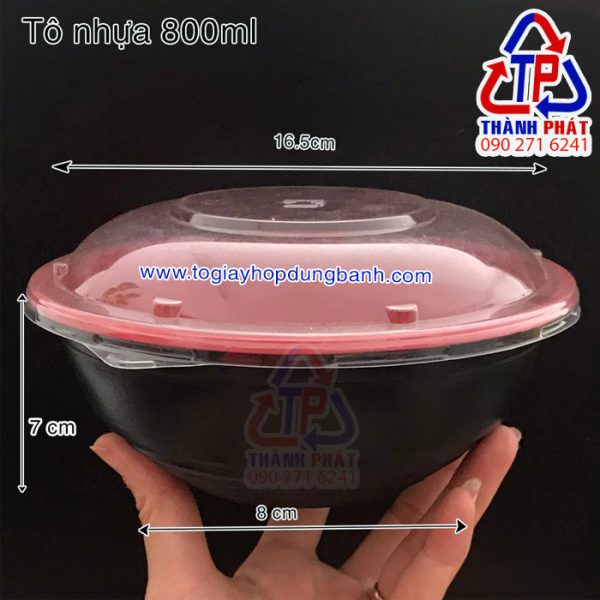 Tô nhựa đỏ đen - Tô nhựa HT27- Tô nhựa đựng hủ tiếu đỏ đen - Tô nhựa đựng mì trộn đỏ đen