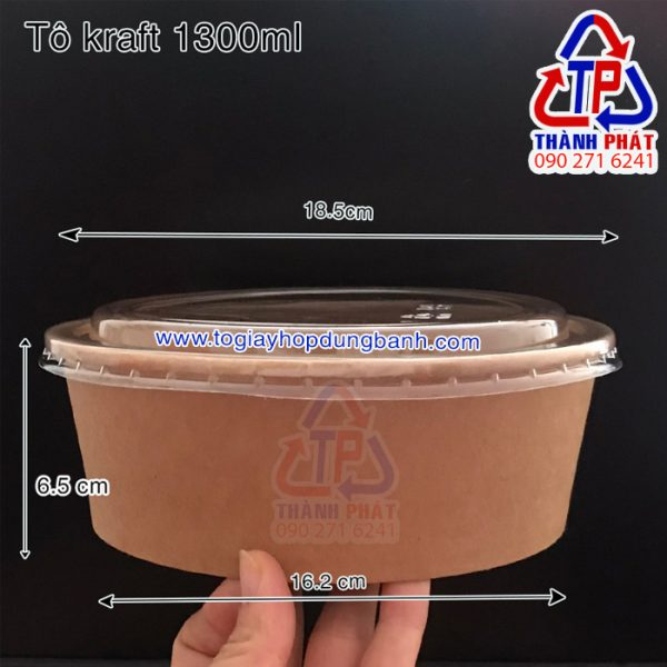 tô giấy kraft 1300ml - tô giấy đựng salad 1300ml - tô giấy kraft đựng bánh bông lan trứng muối