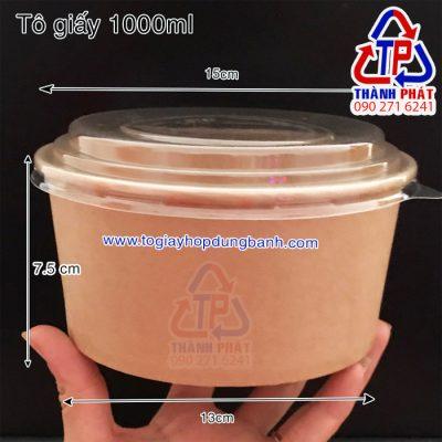 tô giấy kraft 1000ml - Tô giấy kraft đựng bánh bông lan trứn muối - hộp giấy kraft đựng bánh bông lan