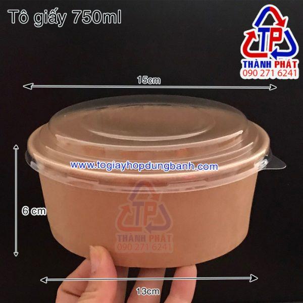 tô giấy kraft 750ml - tô giấy kraft nướng bánh bông lan trứng muối - tô giấy nâu đựng bánh bông lan