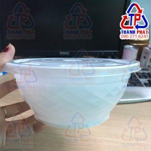 Tô nhựa đựng hủ tiếu có nắp - Tô nhựa trắng sữa - Tô kim cương đựng hủ tiếu - Tô nhựa 1050ml đựng phở - Tô nhựa đựng thức ăn nóng