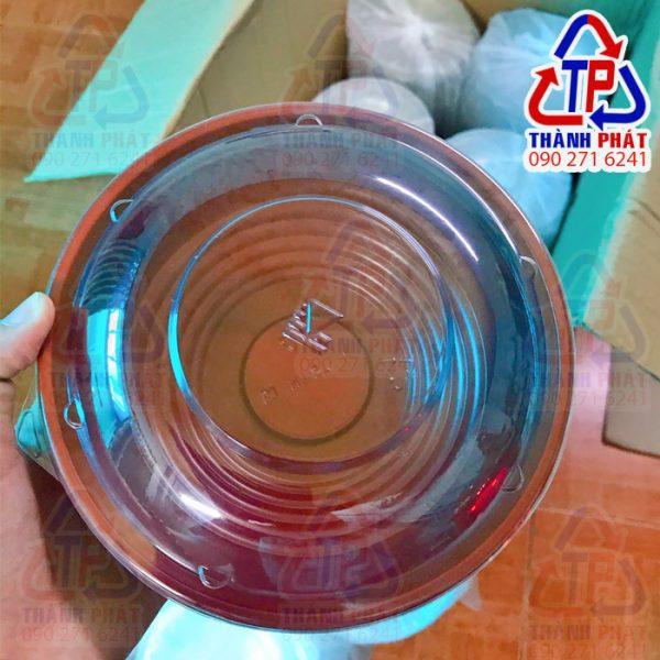 Tô nhựa đỏ đen HT27 - Tô nhựa đỏ đen đựng mì trộn HT27 - tô đỏ đen đựng hủ tiếu - tô nhựa đựng phở - tô nhựa đựng thức ăn có nắp