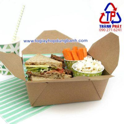 Hộp giấy kraft nắp gài đựng thức ăn Hộp giấy kraft đựng salad nắp gài  Hộp giấy kraft bắt chéo đựng thức ăn