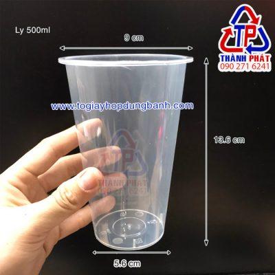 Ly nhựa cứng 500ml - Ly nhựa cứng nắp tim 500ml - Ly 500ml nút tim đỏ