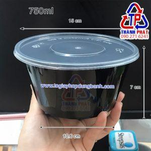 Thố nhựa đen 750ml có nắp - tô nhựa đen đựng mì trộn
