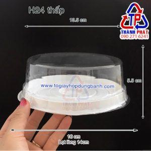 Hộp nhựa H24 thấp - Hộp nhựa H24 đựng bánh bông lan 14cm - Hộp đựng rau câu Hộp nhựa H24 thấp đựng rau câu thỏi vàng