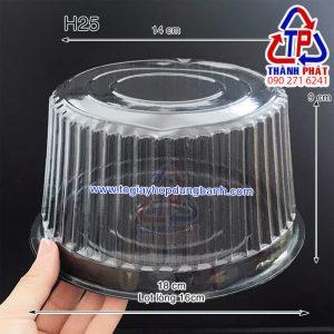 Hộp nhựa tròn đế đen đựng bánh 16cm - hộp nhựa H25 cao đế đen