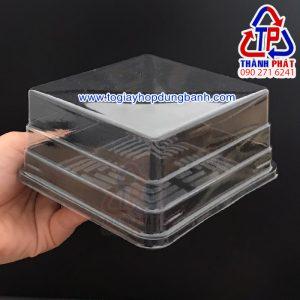 Hộp nhựa vuông đế đen đựng bánh trung thu 250g-300g