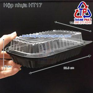 Hộp nhựa HT17 - Hộp HT17 1 ngăn - Hộp nhựa đế đen HT17 - Hộp đựng sushi HT17
