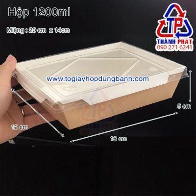 Hộp giấy nắp nhựa trong - Hộp giấy đựng bánh bông lan nắp kính trong