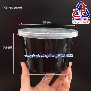 Thố nhựa tròn đen 600ml - thố nhựa tròn đựng chè khúc bạch 600ml - Hộp nhựa tròn đen 600ml
