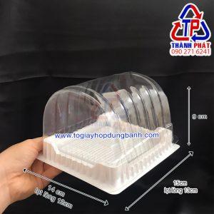 Hộp nhựa đựng bánh bông lan cuộn H22 - Hộp đựng bánh bông lan cuộn lớn ngắn