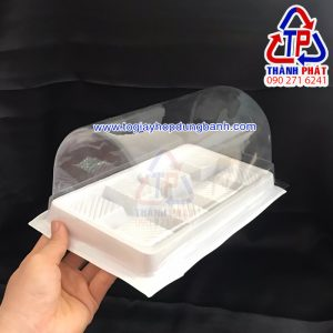 Hộp H72 đựng bánh bông lan cuộn lớn - Hộp nhựa H72 đựng bánh khúc cây noel