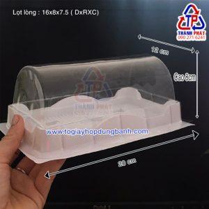 Hộp đựng bánh bông lan cuộn H19 - Hộp nhựa đế trắng H19 - Hộp nhựa H19
