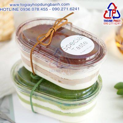 Hộp oval HT150G - Hộp oval đựng tiramisu - Hộp oval đựng bánh mousse - Hộp oval đựng bánh lạnh