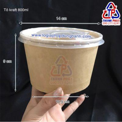 Tô giấy kraft 800ml đựng hủ tiếu mang đi - Tô giấy đựng nước có nắp - tô giấy có nắp - tô giấy đựng thức ăn mang đi