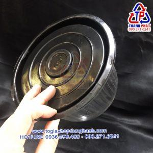 Hộp nhựa H24 bầu đế đen - Hộp nhựa H24 vòm đế đen - Hộp nhựa đựng bánh kem 14cm đế đen