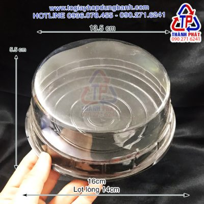 Hộp H24 dê đen - Hộp H24 thấp đế đen đựng rau câu thạch 3D - Hộp đựng bánh bông lan đế đen 14cm