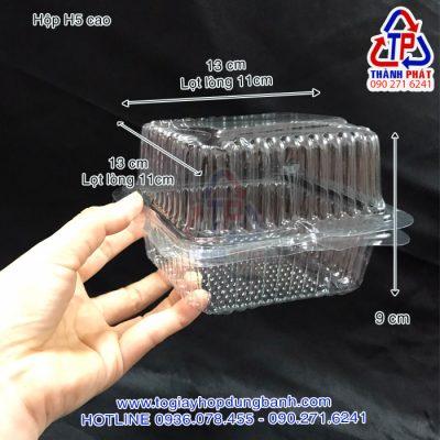 Hộp H5 cao - Hộp nhựa đựng bánh humburger - Hộp đựng bánh bông lan trứng muối - Hộp đựng bánh H5 cao