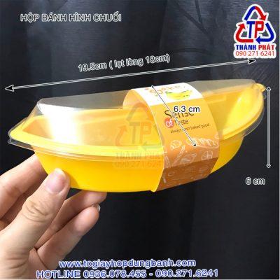 Hộp bánh hình chuối - Hộp hình chuối JM510 - Hộp nhựa đựng hình chuối - Hộp đựng bông lan hình chuối