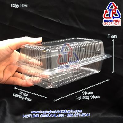 Hộp H04 - Hộp nhựa HH04 - Hộp H04 đựng bánh bông lan trứng muối - Hộp H04 đựng bánh mì phô mai tan chảy