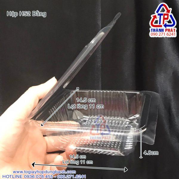 Hộp nhựa H52 bằng - Hộp H52 bằng đựng xôi - Hộp H52 bằng đựng salad - Hộp H52 bằng đựng bánh bông lan trứng muối