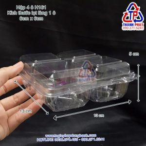 Hộp 4 ngăn đựng bánh trung thu mini - Hộp H161 có 4 ngăn đựng bánh mochi - Hộp nhựa đựng 4 cái bánh tart