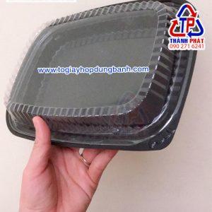 Hộp HT203 đế đen - Hộp HT203 đựng 1kg cơm sầu riêng - Hộp HT203 đựng sushi