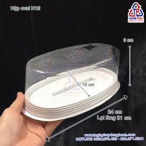 Hộp oval H12 đựng bánh mì hoa cúc - Hộp oval đế trắng H12 đựng bánh gato flan - Hộp oval H12 đựng rau câu